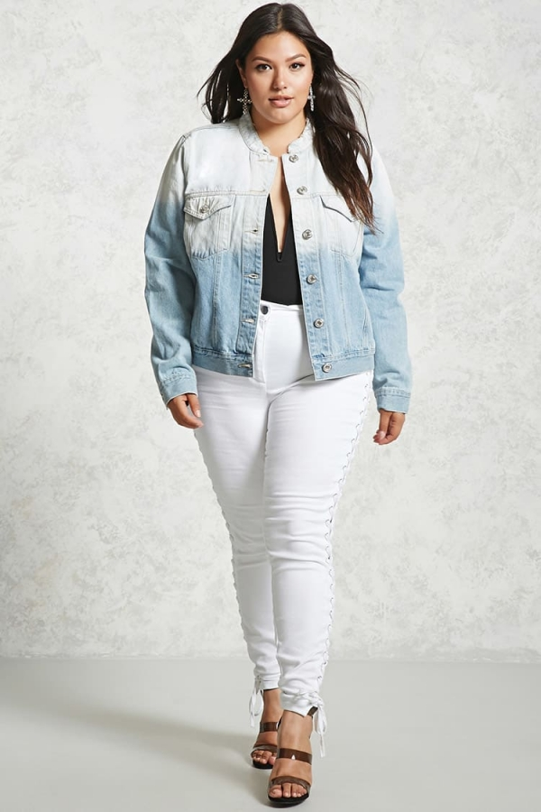 c565b81f8 Forever 21 Plus Size Ombre Denim Jacket جاكيت جينز مقاسات خاصة